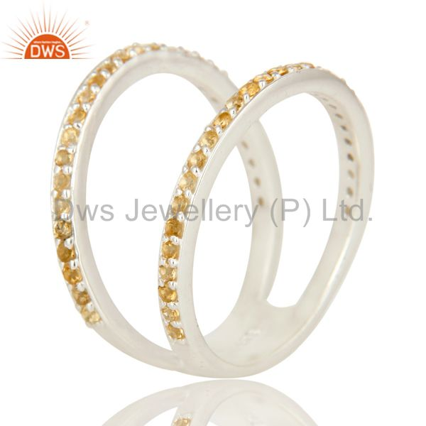 Suppliers Natural Citrine Gemstone High Polish Sterling Silver Double Stacking Ring