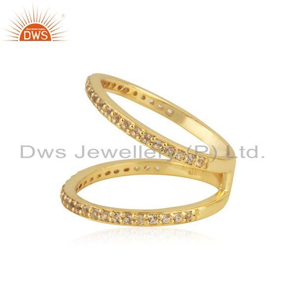 Suppliers White Topaz Gemstone Handmade 14k Gold Plated Silver Ring Jewelry