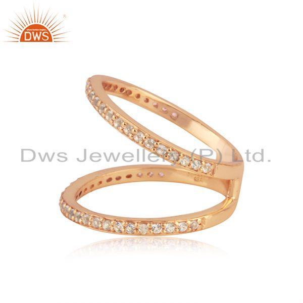 Suppliers Designer Rose Gold Plated Silver White Topaz Ring Jewelry Manufacturer
