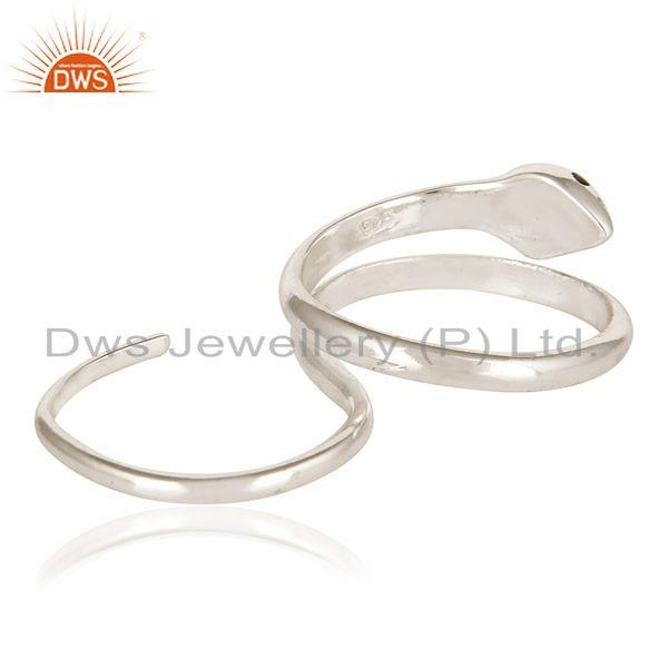 Suppliers High Polish Sterling Silver Smoky Quartz Two Finger Adjustable Snake Ring