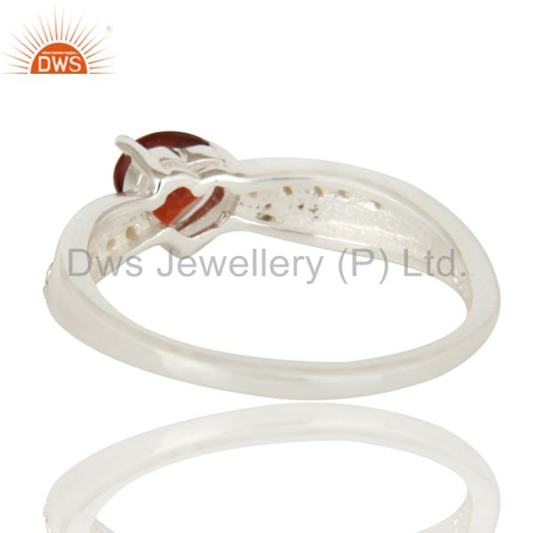 Suppliers 925 Sterling Silver Garnet And Citrine Trillion Cut Halo Ring
