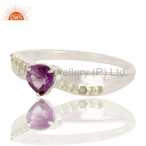 Suppliers High Polish 925 Sterling Silver Amethyst And Peridot Halo Style Solitaire Ring