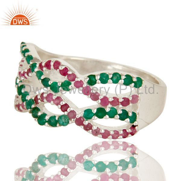 Suppliers 925 Sterling Silver Natural Emerald And Ruby Gemstone Cluster Infinity Ring