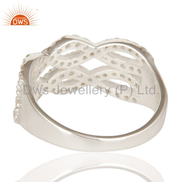 Suppliers 925 Sterling Silver White Topaz Gemstone Accent April Birthstone Infinity Ring