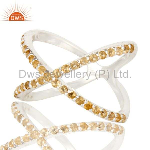 Suppliers Natural Citrine Gemstone Sterling Silver Split Shank Halo Style Ring