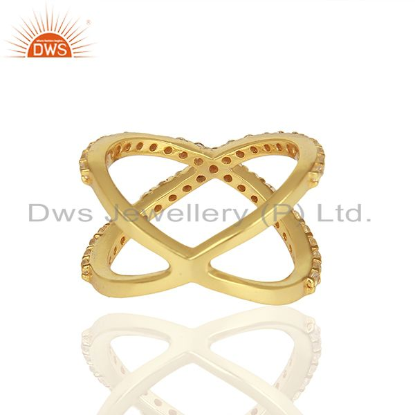 Suppliers Criss Cross Gold Plated 925 Silver White Topaz X Ring Manufacturer