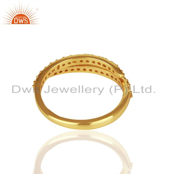 Suppliers Handmade Gold Plated 925 Silver White Topaz Midi Rings Suppliers