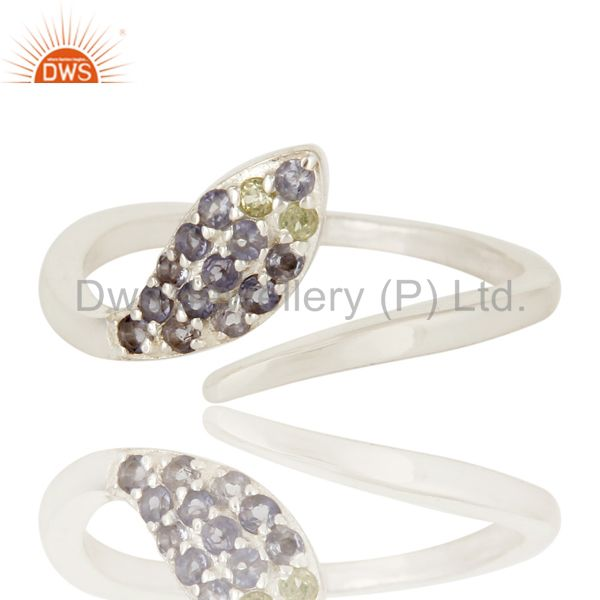 Suppliers Natural Iolite And Peridot Gemstone Sterling Silver Adjustable Snake Ring
