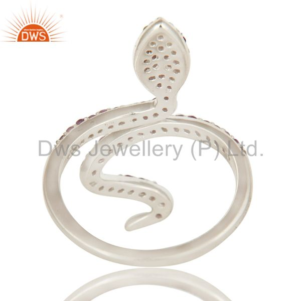 Suppliers Natural Amethyst And Peridot Sterling Silver Adjustable Snake Ring