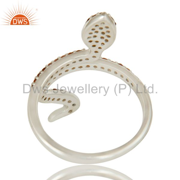 Suppliers 925 Sterling Silver Pave Set Garnet Gemstone Snake Designer Adjustable Ring
