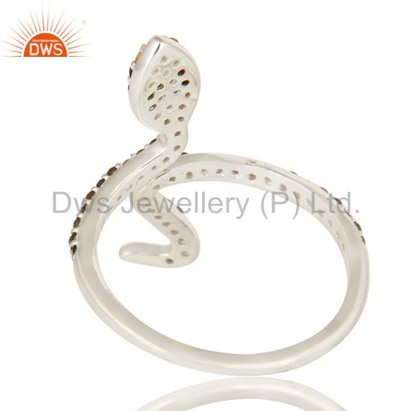 Suppliers Natural Citrine And Smoky Quartz Sterling Silver Adjustable Snake Ring