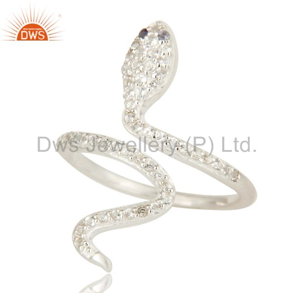 Suppliers Natural Iolite And White Topaz Sterling Silver Adjustable Snake Ring