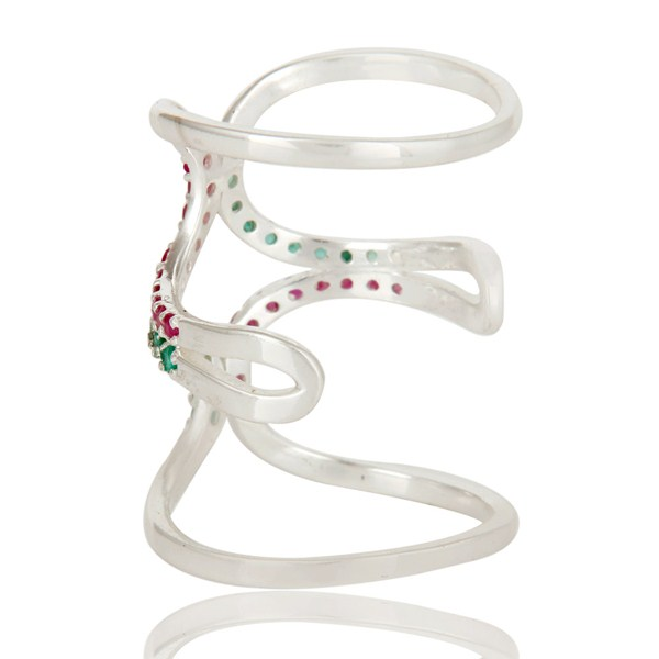 Suppliers 925 Sterling Silver Emerald and Ruby Birthstone Gemstone Designer Knuckle Ring