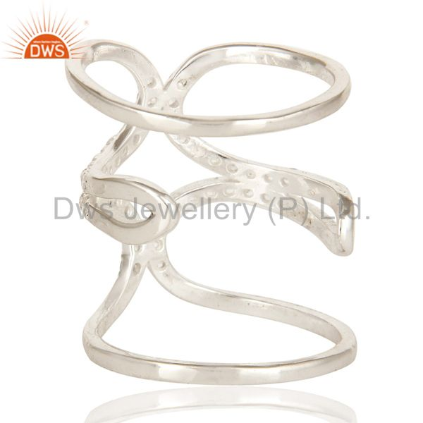 Suppliers 925 Sterling Silver White Topaz Gemstone Accent Womens Long Knuckle Ring