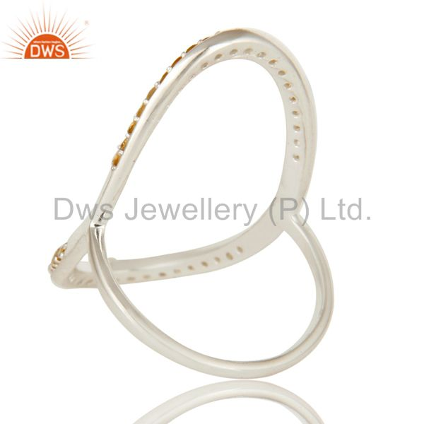 Suppliers 925 Sterling Silver Pave Set Citrine Gemstone Modern Infinity Ring