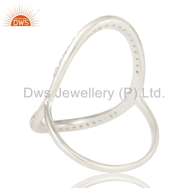 Suppliers 925 Sterling Silver White Topaz Gemstone Open Circle Eternity Ring