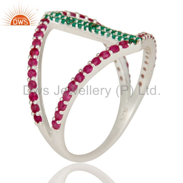Suppliers Emerald and Ruby Sterling Silver Designer Statement Ring