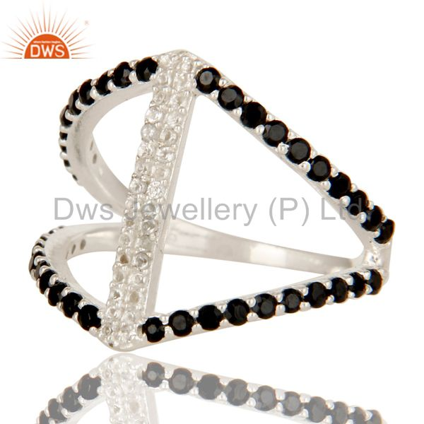 Suppliers 925 Sterling Silver Cutout Ring Studded With White Topaz And Black Onyx