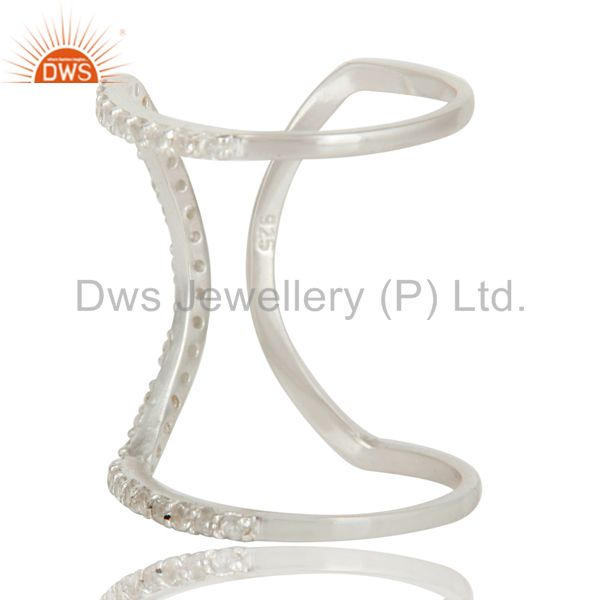 Suppliers 925 Sterling Silver Pave Set White Topaz Halo Style Fashion Double Knuckle Ring