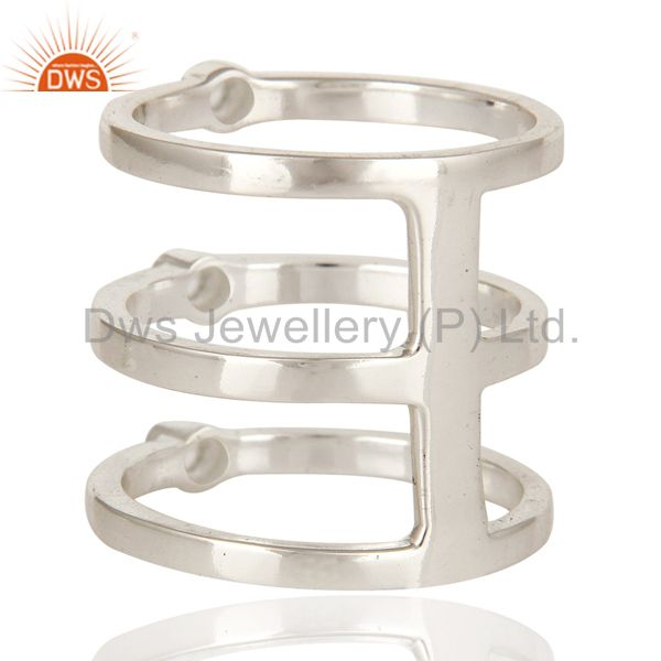 Suppliers High Polish Sterling Silver White Topaz Gemstone Modern Design Tri Bar Ring