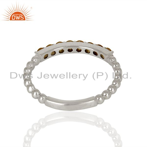 Suppliers Citrine Gemstone Cluster Stacking Eternity 925 Sterling Silver Band Ring