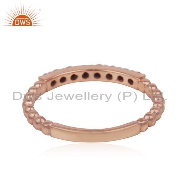 Suppliers Black Diamond Stone Rose Gold Plated Silver Stackable Band Rings