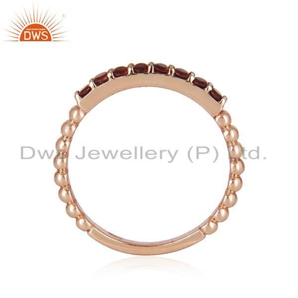Suppliers Genuine Garnet Gemstone Rose Gold Plated Sterling Silver Band Rings