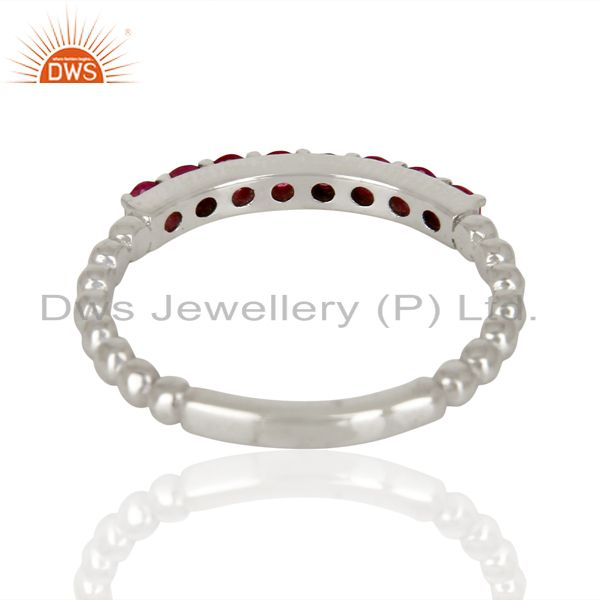 Suppliers Natural Ruby Gemstone Cluster Stacking Eternity 925 Sterling Silver Band Ring