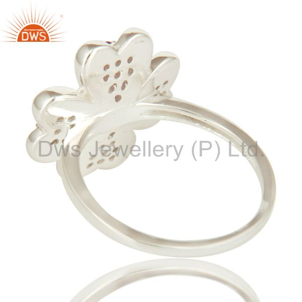Suppliers 925 Sterling Silver Amethyst Gemstone Flower Cocktail Ring