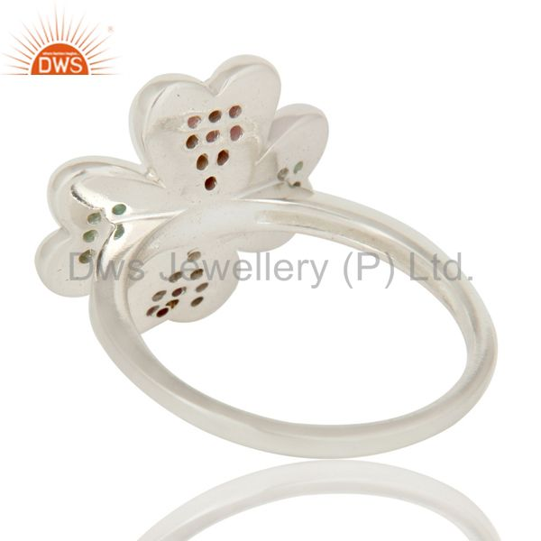 Suppliers 925 Sterling Silver Ruby And Emerald Gemstone Flower Cocktail Ring