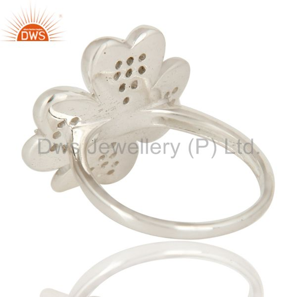 Suppliers 925 Sterling Silver White Topaz Gemstone Flower Cocktail Ring