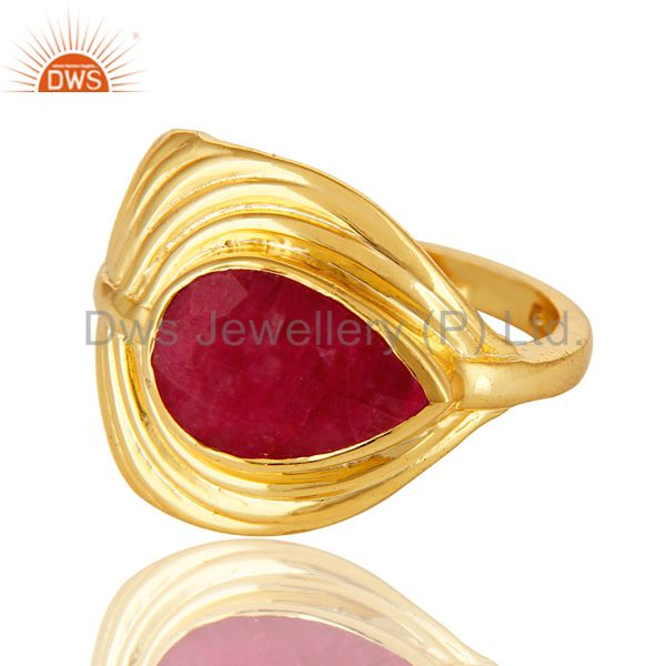 Suppliers 14K Gold Over Sterling Silver Dyed Ruby Red Corundum Peacock Feather Ring