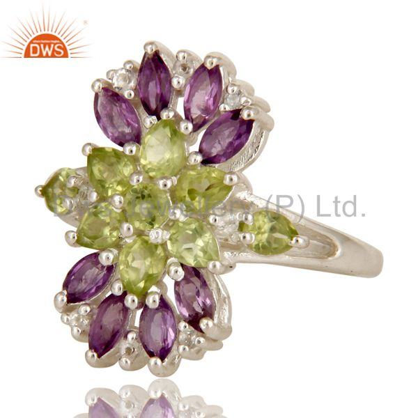Suppliers 925 Sterling Silver Amethyst And Peridot Gemstone Cluster Statement Ring