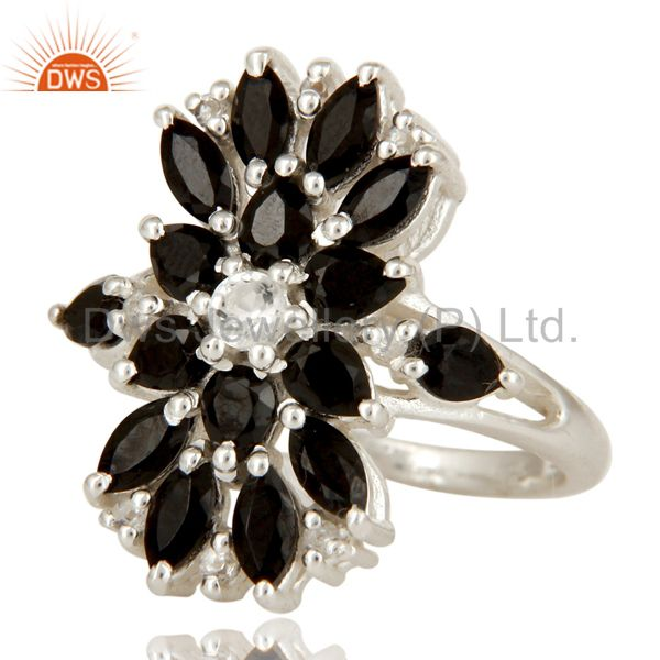 Suppliers 925 Sterling Silver Black Onyx And White Topaz Gemstone Cluster Statement Ring