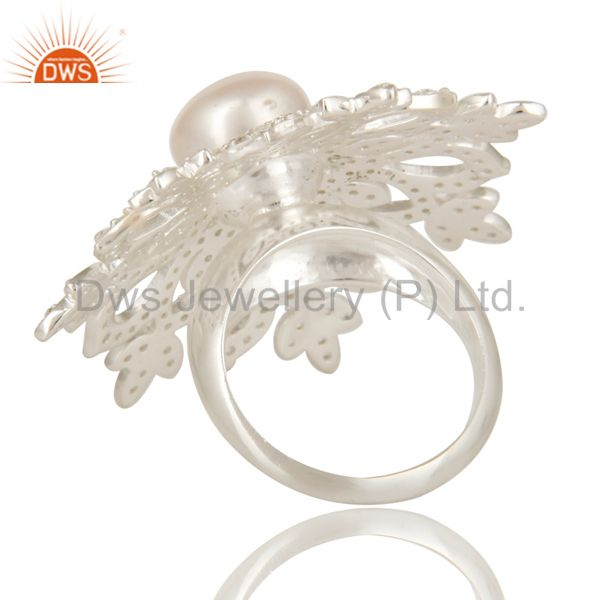 Suppliers 925 Sterling Silver White Topaz And Pearl Flower Cocktail Ring