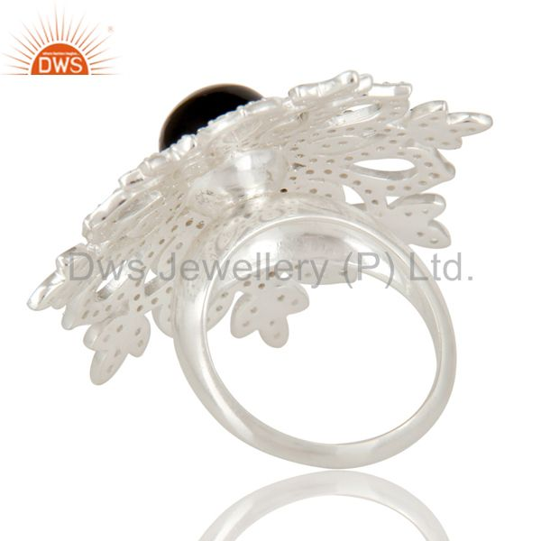 Suppliers 925 Sterling Silver Black Onyx And White Topaz Flower Designer Cocktail Ring