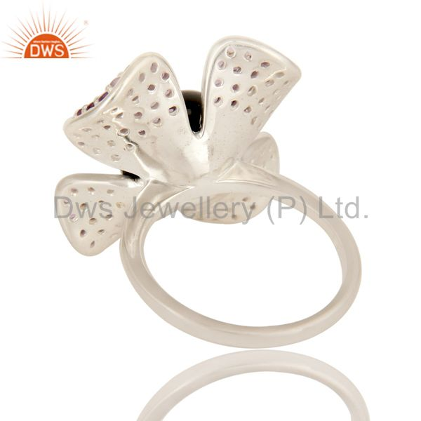 Suppliers 925 Sterling Silver Black Onyx And Amethyst Gemstone Flower Cocktail Ring