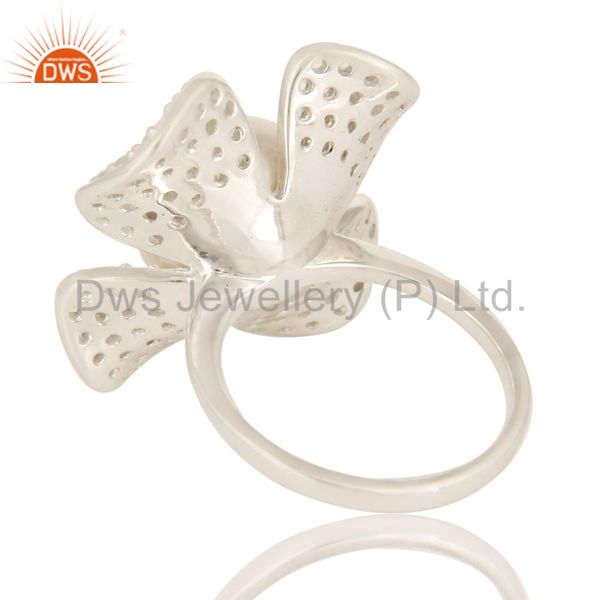 Suppliers 925 Sterling Silver Natural Pearl Flower Cocktail Fashion Ring With White Topaz