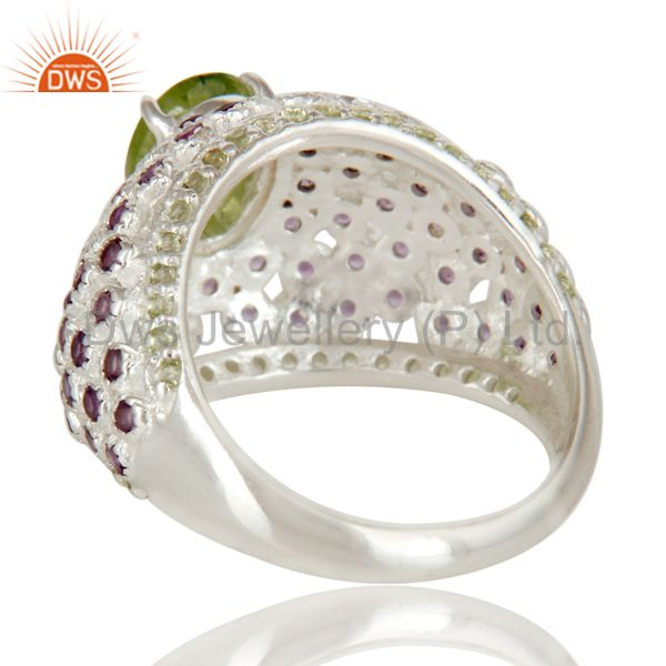 Suppliers 925 Sterling Silver Peridot And Amethyst Halo Style Dome Ring