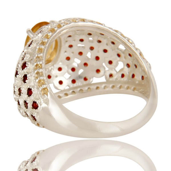 Suppliers 925 Sterling Silver Citrine And Garnet Gemstone Prong Set Dome Ring