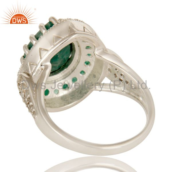 Suppliers Emerald And White Topaz Sterling Silver Gemstone Designer Ring Jewelry