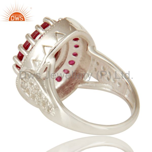 Suppliers 925 Sterling Silver Red Corundum And White Topaz Gemstone Statement Ring