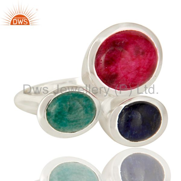 Suppliers Emerald, Ruby And Sapphire Gemstone 925 Sterling Silver Ring
