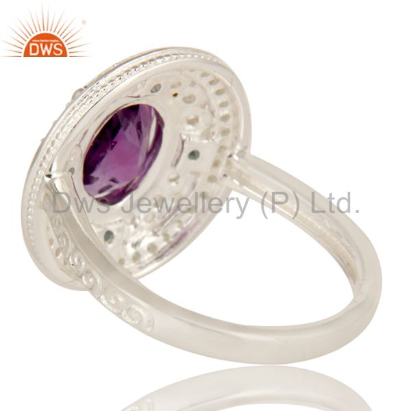 Suppliers 925 Sterling Silver Amethyst And Blue Topaz Statement Ring With White Topaz