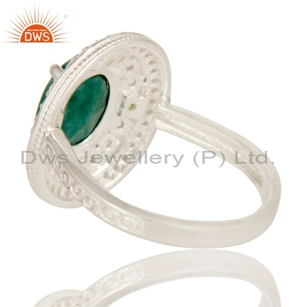 Suppliers Green Corundum And Peridot Sterling Silver Statement Ring With White Topaz
