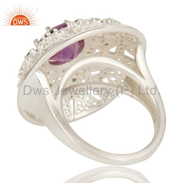 Suppliers 925 Sterling Silver Amethyst, Blue Topaz And White Topaz Designer Cocktail Ring