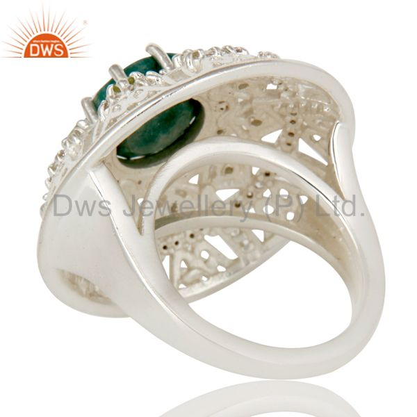 Suppliers 925 Sterling Silver Emerlad Peridot And White Topaz Designer Cocktail Ring