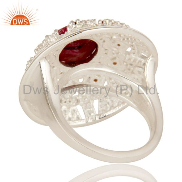 Suppliers 925 Sterling Silver Ruby And Garnet Gemstone Cocktail Ring With White Topaz