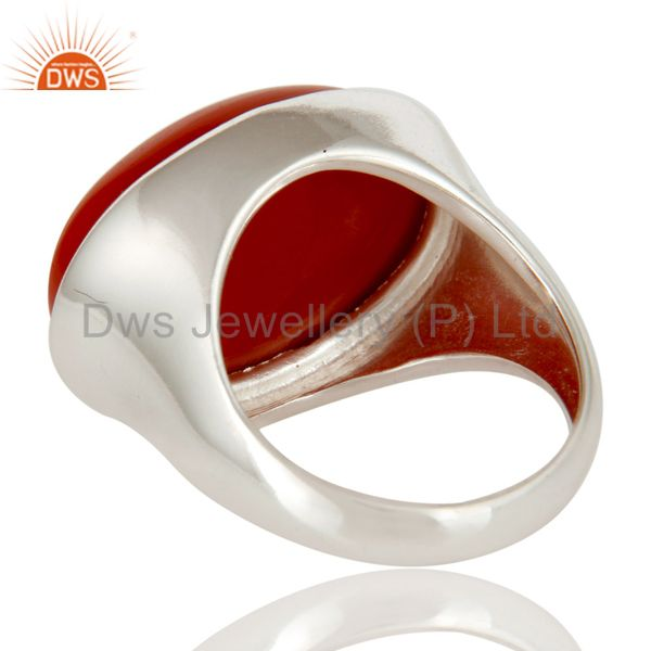 Suppliers High Polished Sterling Silver Red Coral Gemstone Designer Dome Ring