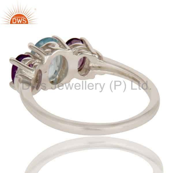 Suppliers 925 Sterling Silver Amethyst And Blue Topaz Gemstone Cluster Ring